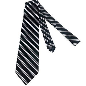 Martin Wong Accessories - Screenplay Martin Wong Black Silver Silk Tie